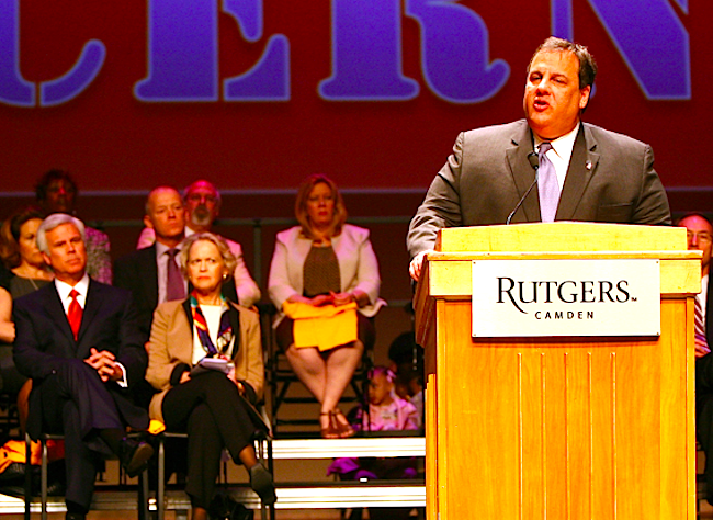 Christie speaks at Rutgers Camden in 2012