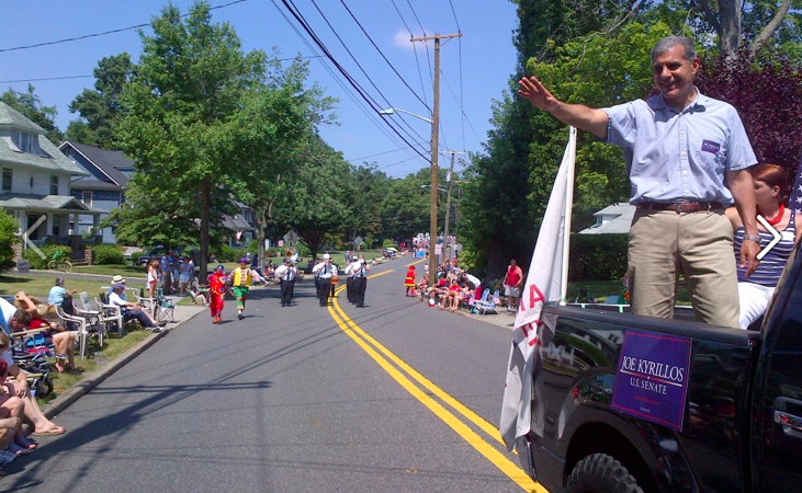 Kyrillos campaigning on the Fourth of July.