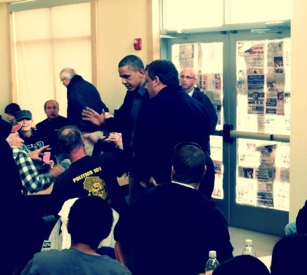Christie and Obama at the Jersey Shore in October 2012