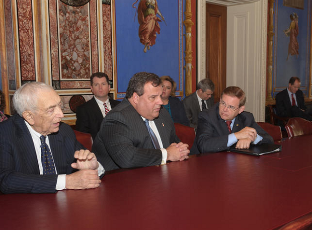 Chris Christie meeting with Bob Menendez and the late Frank Lautenberg in Washington back in 2012.