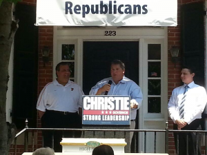 Governor Christie (left) campaigns with Chairman Bill Layton (Center) in Mt. Holly in June 2013.