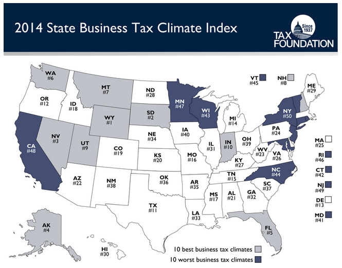 business tax climate index map