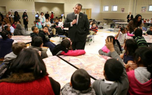 Gov. Chris Christie (R-NJ) visits a Camden, NJ classroom in January 2014.