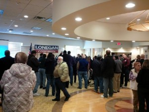 Supporters gather to watch Steve Lonegan launch his CD3 campaign in Toms River.