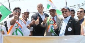Hari Eppanapally with Cory Booker and Upendra Chivukula