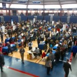 Hundreds of middle-aged people looking for work at Brookdale this morning. April 4, 2014
