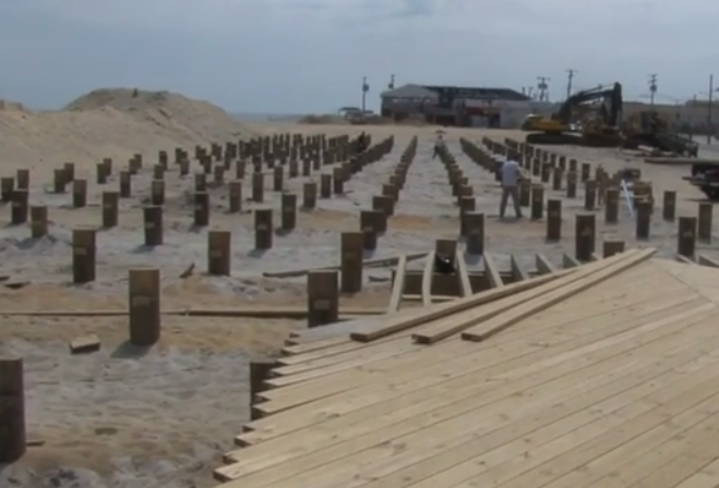 Seaside boardwalk construction