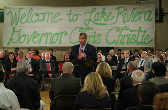 christie recovery town hall in brick