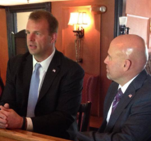 Tom MacArthur (right) receiving the endorsement of Jon Runyan (left)