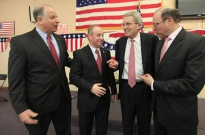 The 2014 GOP U.S. Senate primary field, left to right: Rich Pezzullo, Brian Goldberg, Jeff Bell and Murray Sabrin