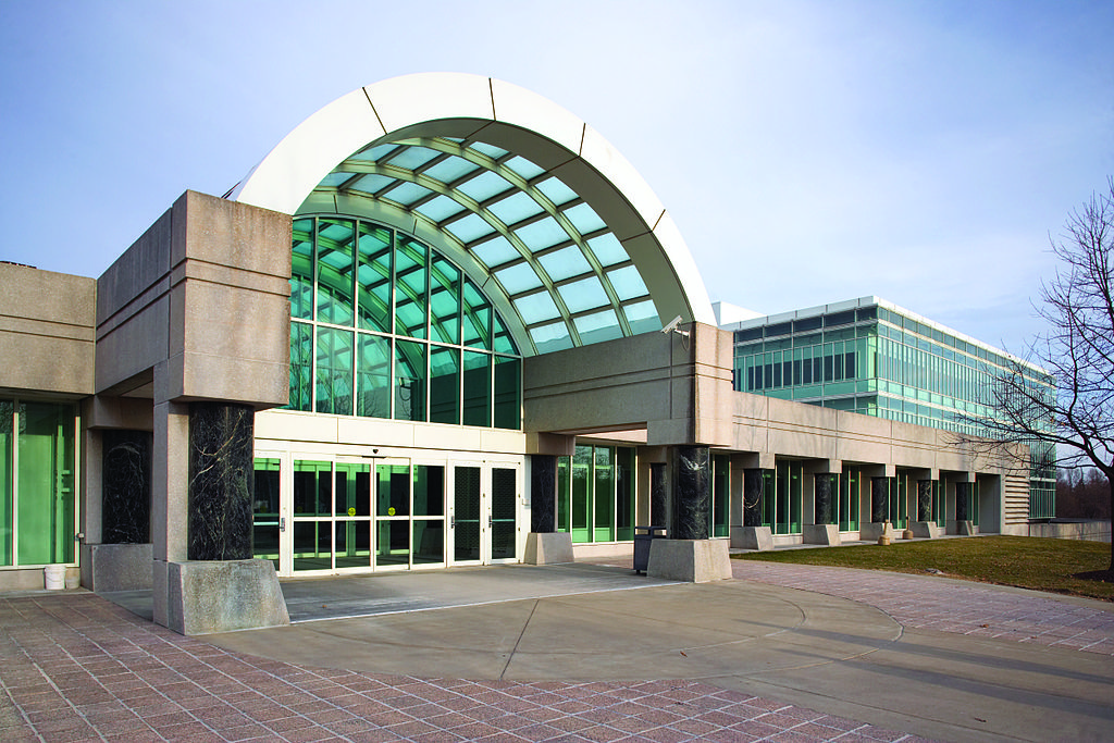 The entrance of the CIA New Headquarters Building (NHB) of the George Bush Center for Intelligence