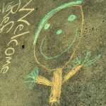 welcome chalk drawing child