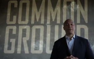 "Screenshot from Cory Booker's first TV #njsen spot, ""True"""