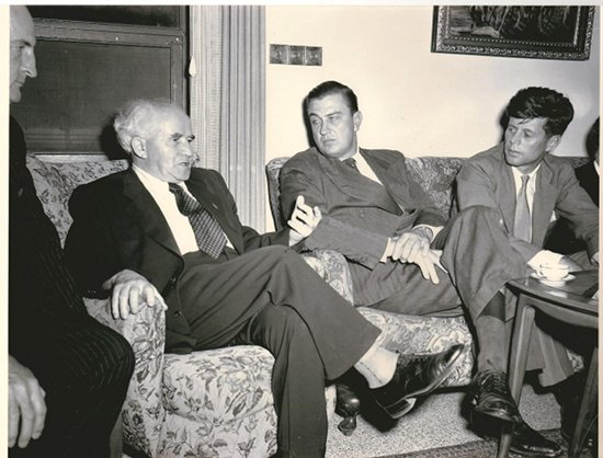 David Ben-Gurion (left), Franklin Delano Roosevelt, Jr. (center) and then-Congressman John F. Kennedy (right) in 1951.