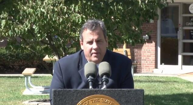 christie press conference podium