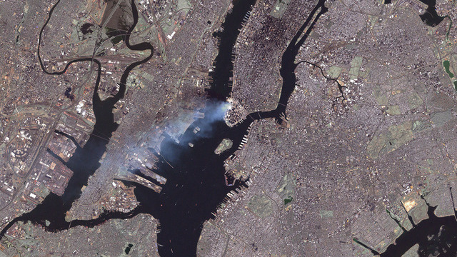 The 9/11 attack on NYC from space