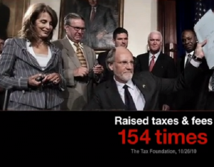 A screenshot from Governor Chris Christie's first 2013 attack ad aimed at Barbara Buono's voting record.