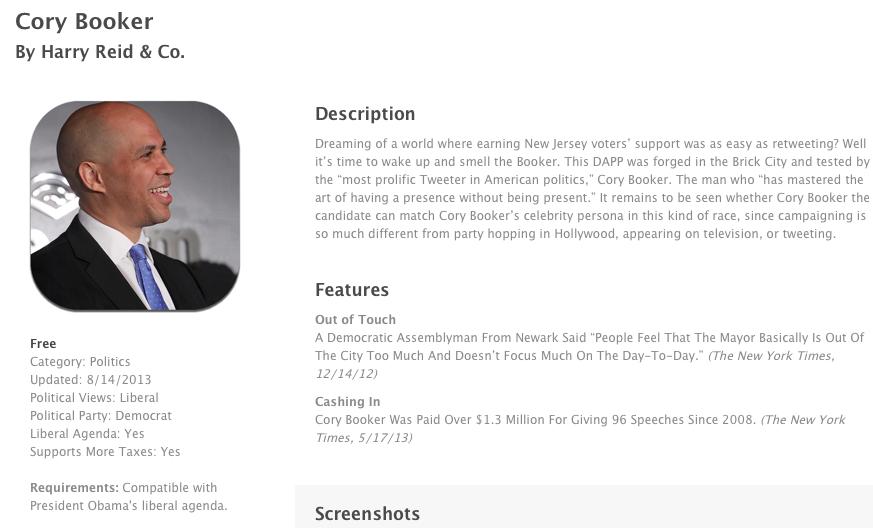"""GOP Senatorial Committee Releases """"App"""" Mocking Booker"""