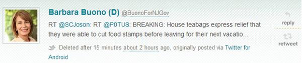 """Classy Buono Retweets """"Teabags"""""""