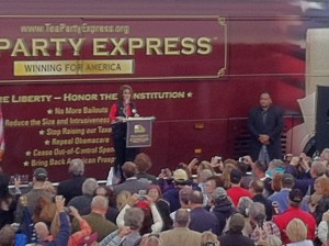 Sarah Palin at an October 2013 U.S. Senate Lonegan rally in New Egypt, NJ