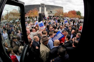 Christie bus crowd