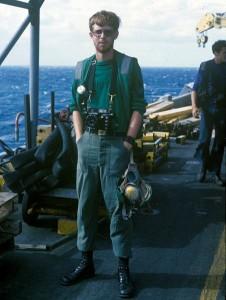 Photographer's Mate 2nd class Joseph Sharp aboard the USS Forrestal in 1978