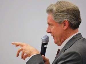 Congressman Frank Pallone moving his lips, and fingers