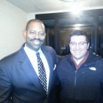 Garry Cobb (left) and a very enthused Eagles fan on the right, a/k/a Matt Rooney