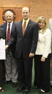 Andrew Lucas, center, then the Republican mayor of Manalapan, with then Freeholder John D'Amico and Amy Mallet, both Democrats, in September of 2010, seven months after Lucas purchased Burke Farm.