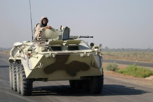 A Ukrainian armored personnel carrier engaged in Operation Iraqi Freedom.