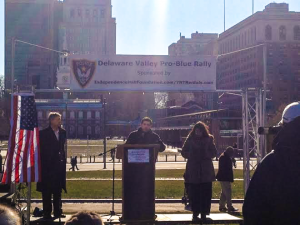 Rooney addresses crowd at January 2015 rally on Independence Mall