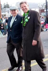 Senator Bob Menendez, left, and Congressman Frank Pallone, making like chimpmunks at the 2012 Belmar St. Patrick's parade. Photo credit Charles Measley