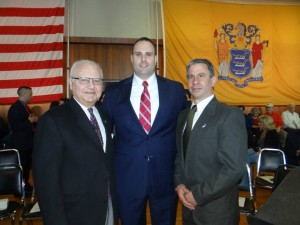 Hasbrouck Heights Councilman Russell Lipari (left) and Bergenfield Mayor Norman Schmelz (right) with Mark DiPisa