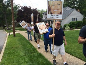 Protesters peacefully protest in front of Sen. Sweeney's residence (6/7/15)