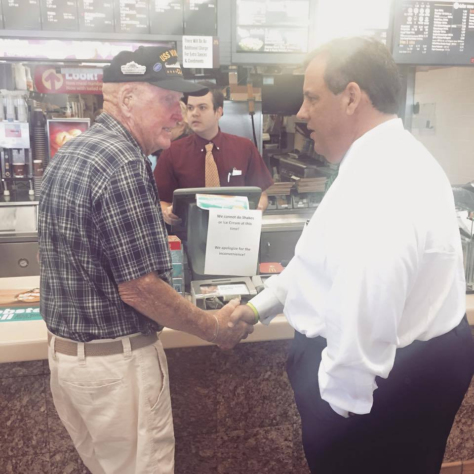 Gov. Christie makes a post-town hall McDonald's stop.