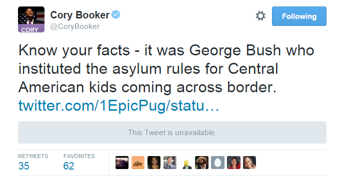 booker bush immigration tweet