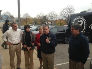 Simon (second from left) campaigns with the Assembly GOP leadership hours before Election 2015.