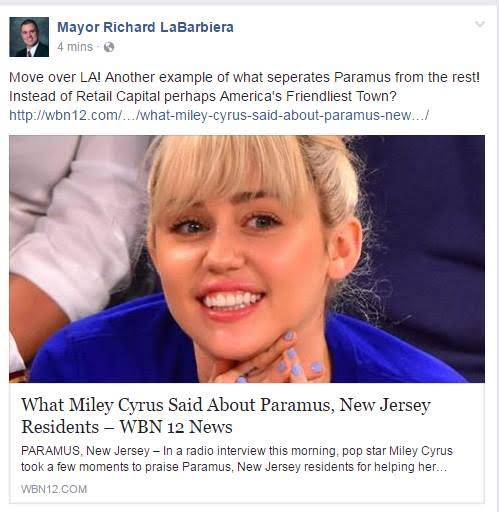 Paramus's Democrat Mayor Falls Victim to Fake Compliment from Miley Cyrus