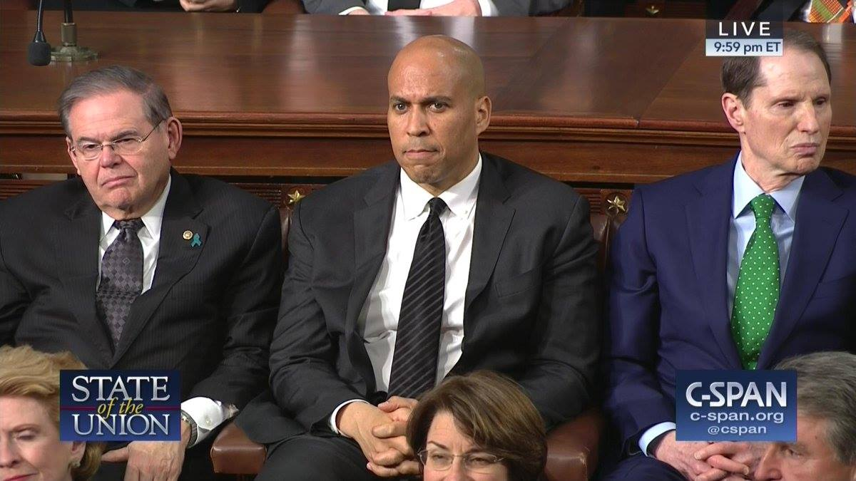 THE PETULANT PARTY: New Jersey's Sires skips, Booker acts like he ate a bad clam at SOTU