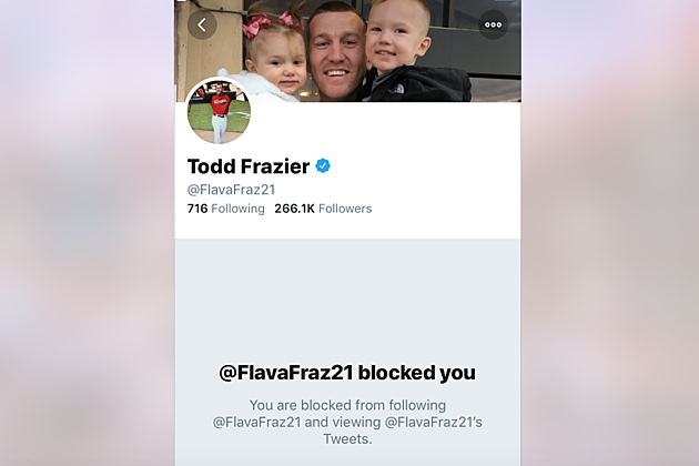 NY Mets Todd Frazier blocks NJ 101.5 on Twitter