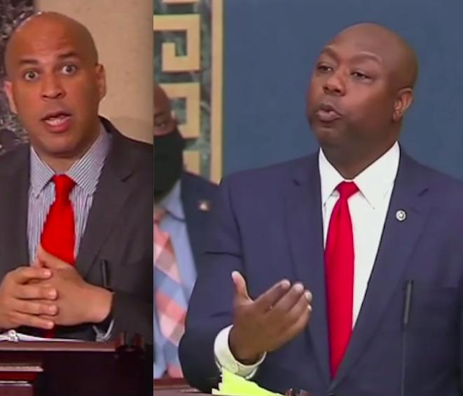Booker helps derail police reform legislation; Scott responds by eviscerating the Democrats